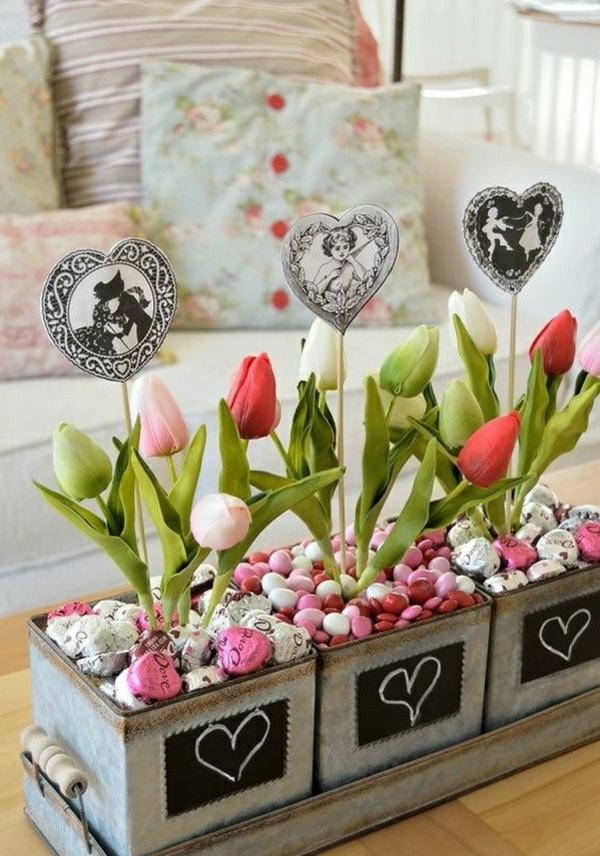 idée de déco saint-valentin à faire soi-même déco de table fleurs bonbons