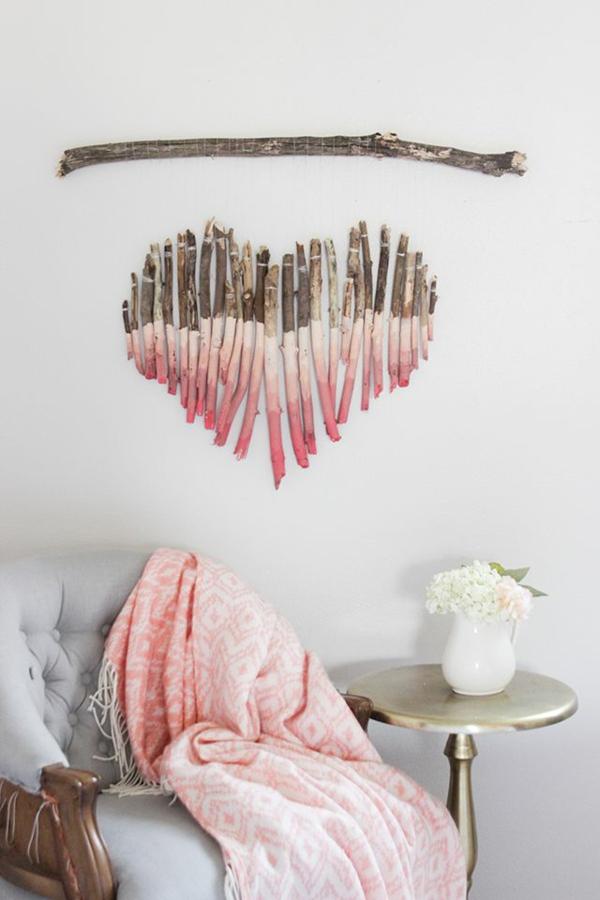 idée de déco saint-valentin à faire soi-même déco murale bois flotté