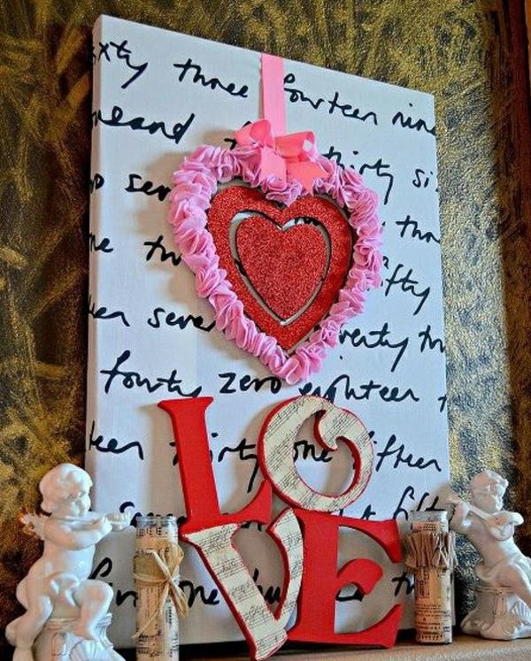 idée de déco saint-valentin à faire soi-même déco murale textile bois papier