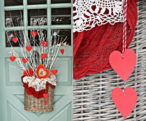 idée de déco saint-valentin à faire soi-même déco porte matériaux naturels