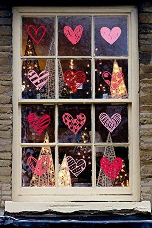 idée de déco saint-valentin à faire soi-même peinture sur fenêtre