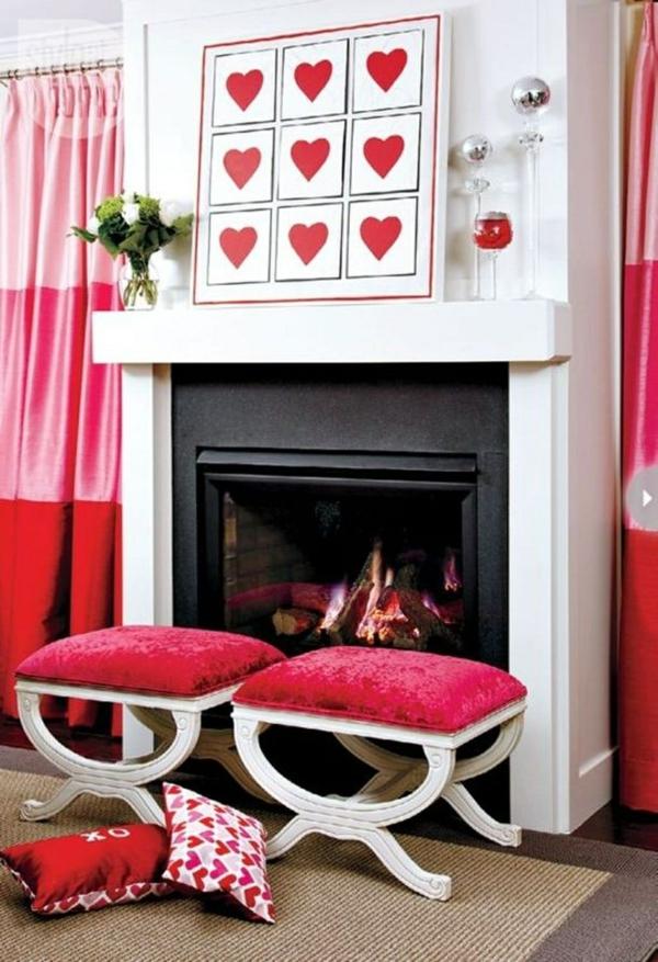 idée de déco saint-valentin à faire soi-même tableau au-dessus der la cheminée
