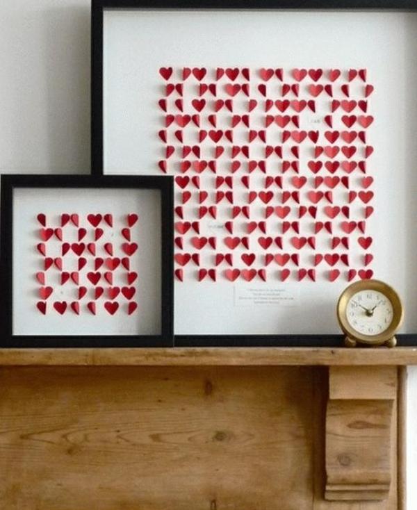 idée de déco saint-valentin à faire soi-même tableau mural papier rouge