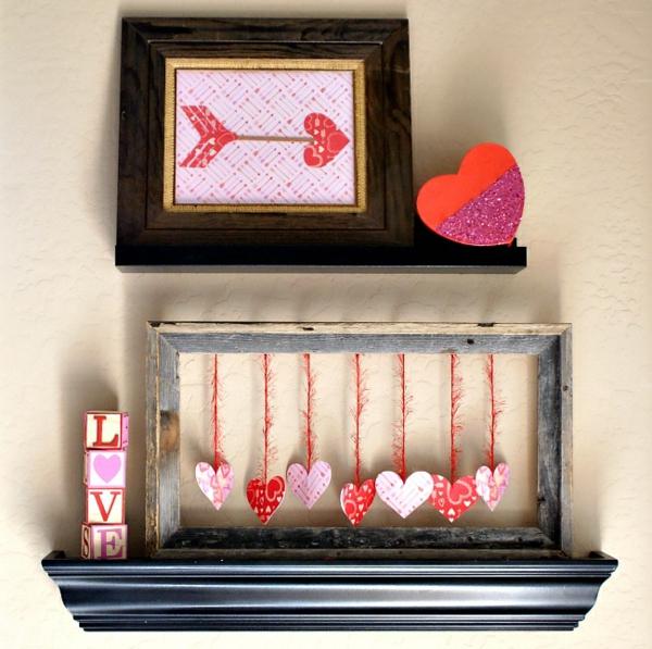 idée de déco saint-valentin à faire soi-même tableaux au-dessus de cheminée