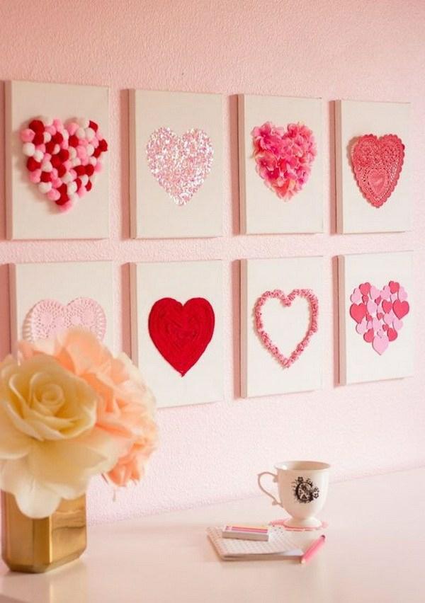 idée de déco saint-valentin à faire soi-même tableaux muraux