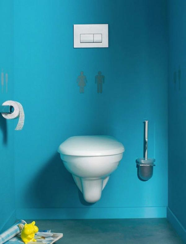 idée de peinture toilettes tendance bleu azur
