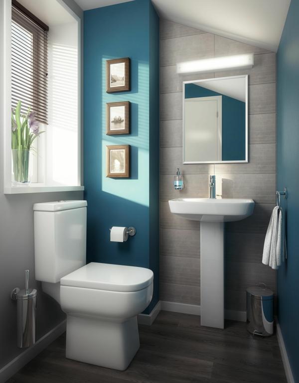 idée de peinture toilettes tendance bleu canard