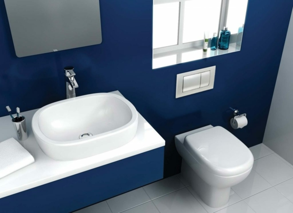 idée de peinture toilettes tendance couleur bleu océan