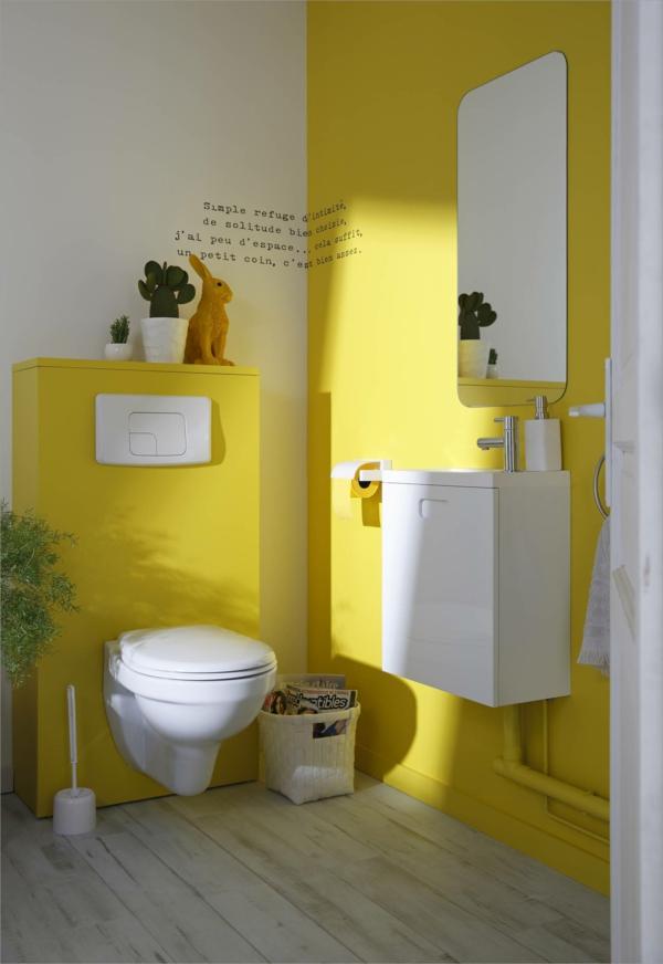 idée de peinture toilettes tendance jaune soleil