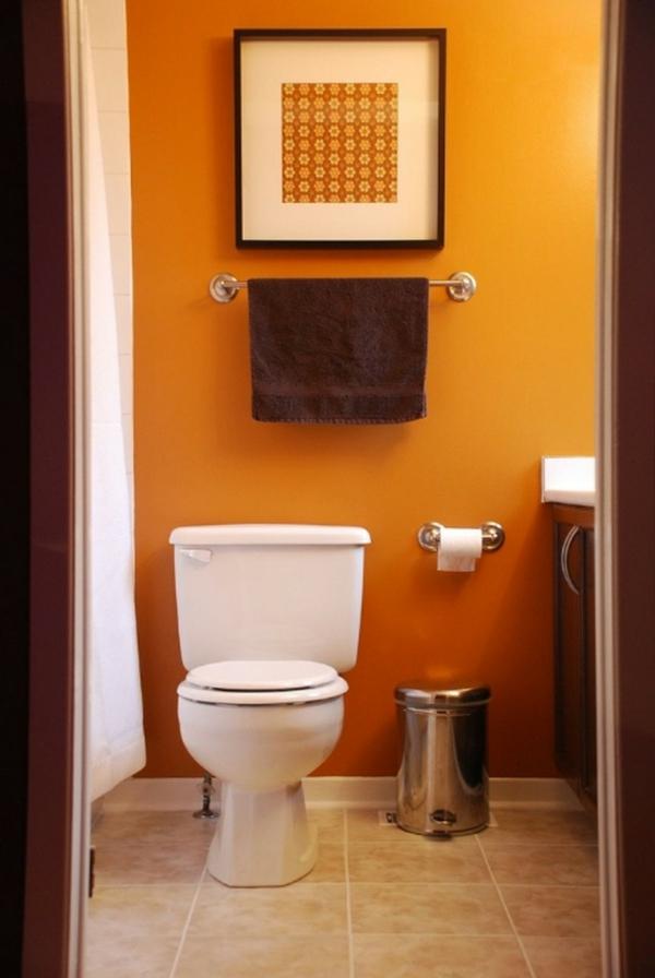 idée de peinture toilettes tendance orange