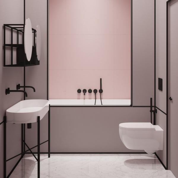 idée de peinture toilettes tendance rose poudre