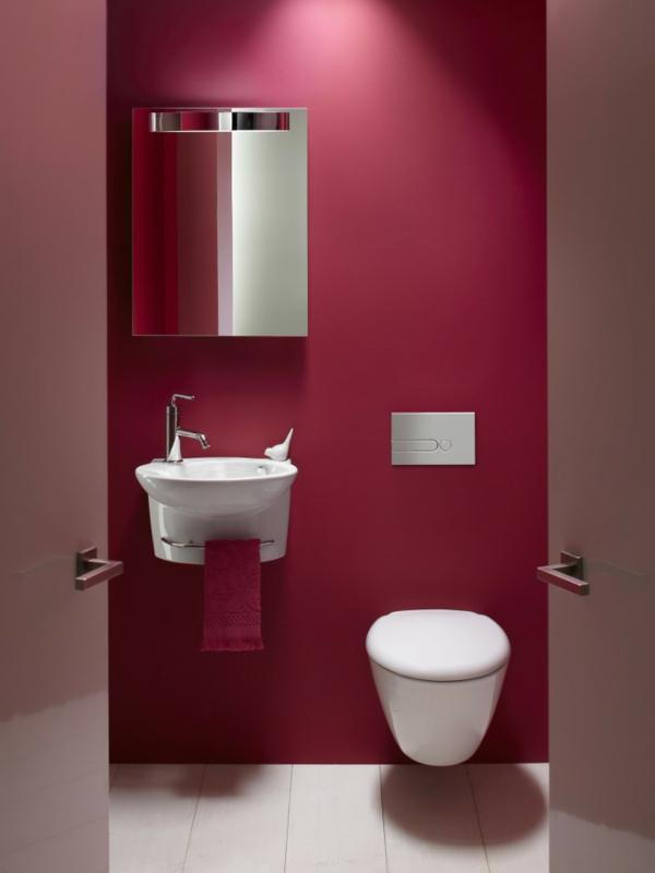 idée de peinture toilettes tendance rouge éclatant