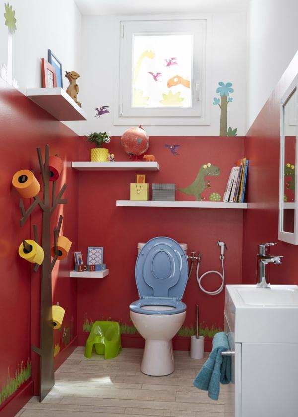 idée de peinture toilettes tendance rouge