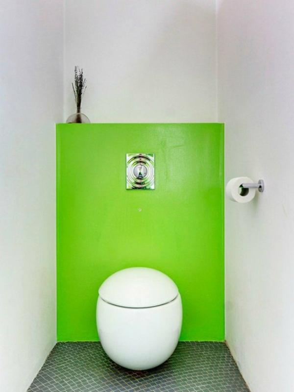 idée de peinture toilettes tendance vert fluo