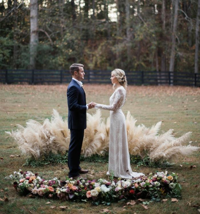 idée jour de mariage déco avec herbe de la pampa