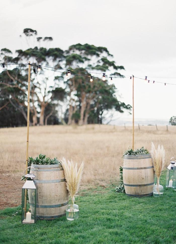inspiration déco de mariage avec herbe de la pampa