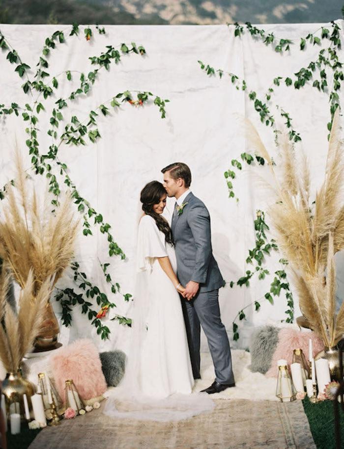 mariage champêtre idée herbe de la pampa