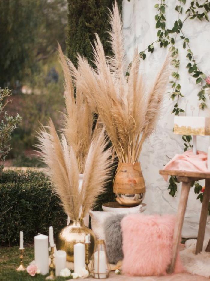 mariage e plein air déco avec herbe de la pampa