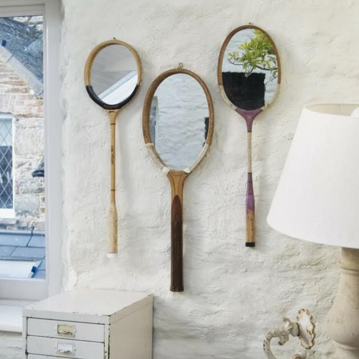 miroir idée avec raquette de tennis