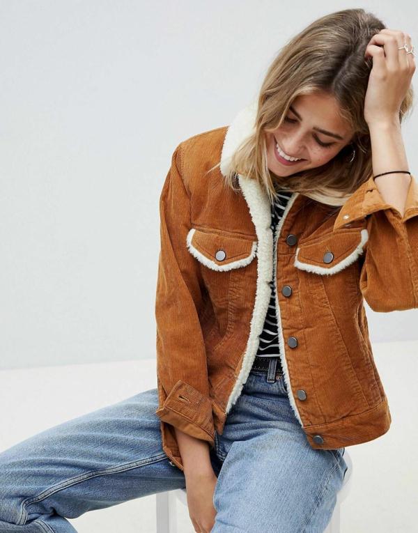 mode femme blouson aviateur marron velours côtelé jeans