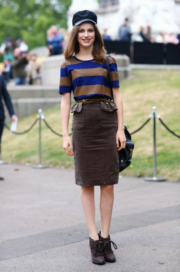mode femme jupe longue velours côtelé brun