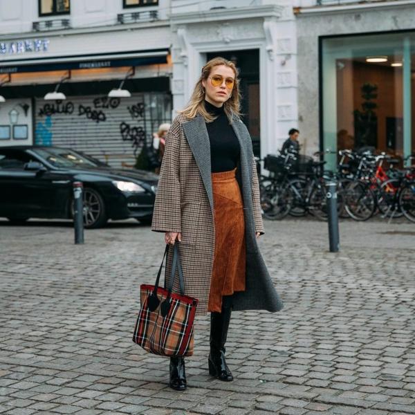 mode femme jupe longue velours côtelé manteau à carreaux