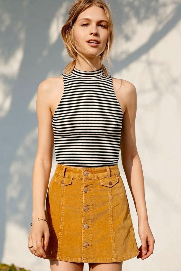 mode femme jupe trapèze moutarde velours côtelé top rayé