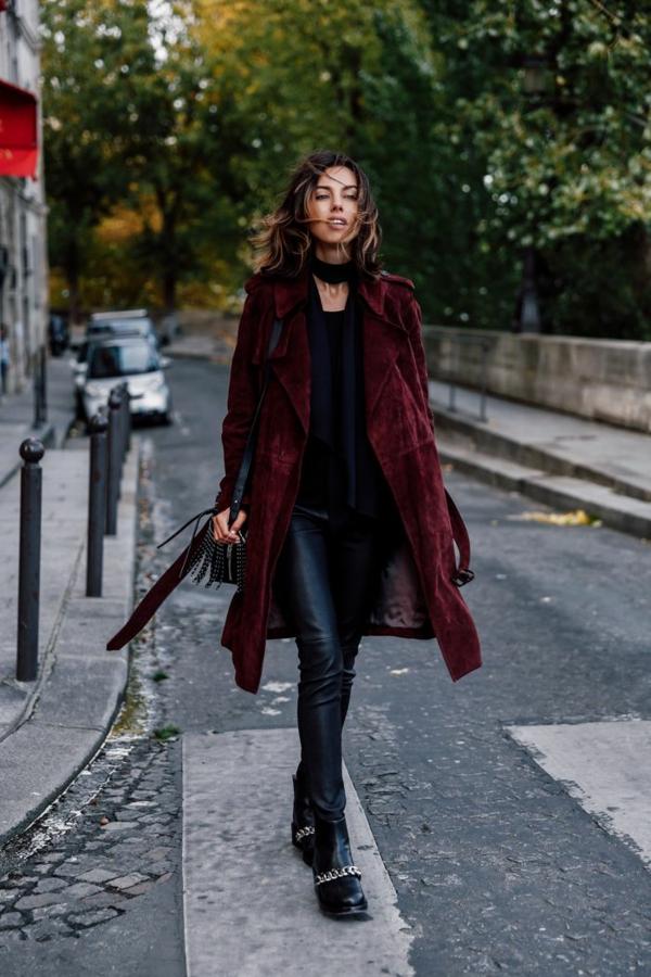 mode femme manteau bordeaux décontracté velours côtelé