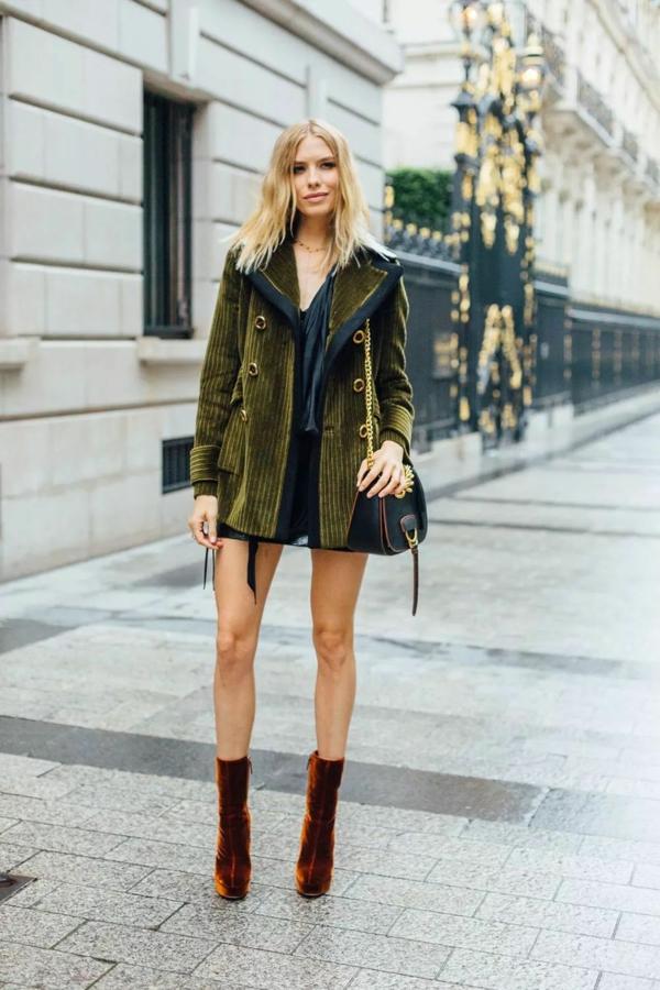 mode femme manteau vert olive velours côtelé