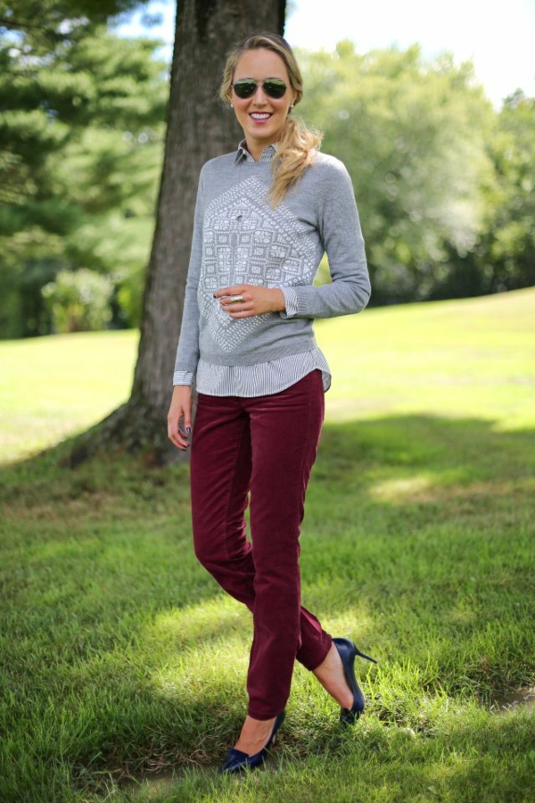mode femme pantalon bordeaux velours côtelé blouse chemise