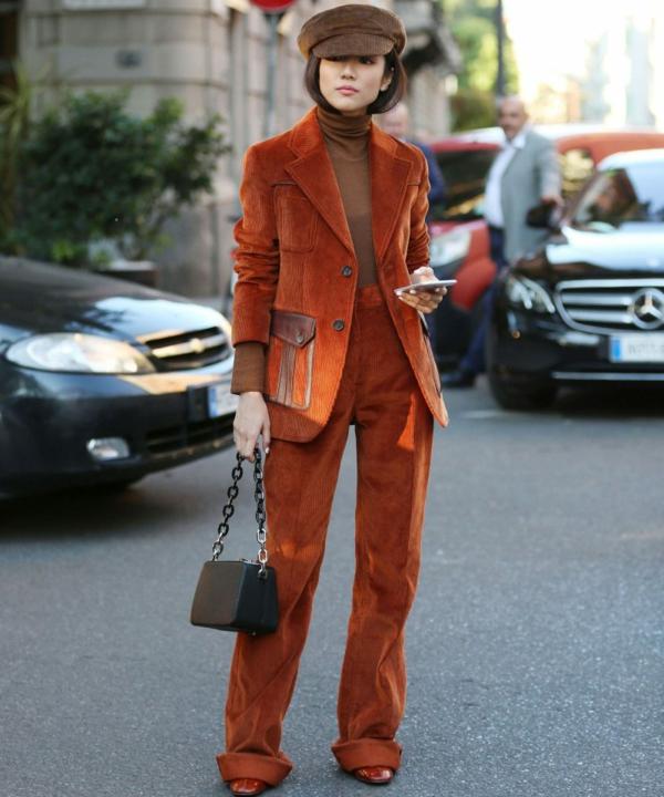 mode femme pantalon large velours côtelé veste
