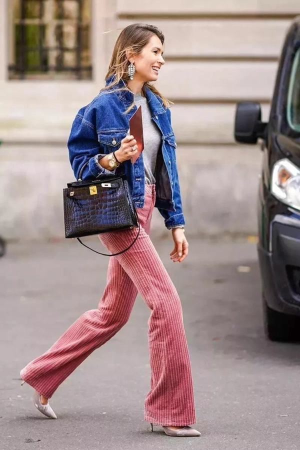 mode femme pantalon rose velours côtelé