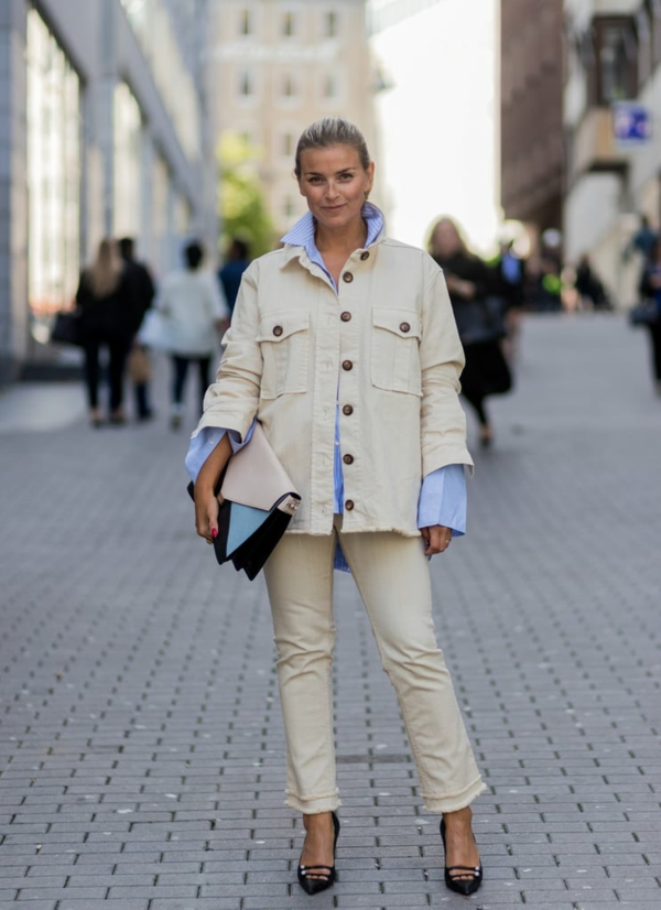 mode femme veste blanc crème velours côtelé