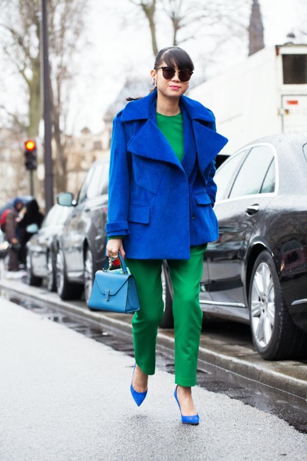 mode femme veste large bleu foncé velours côtelé