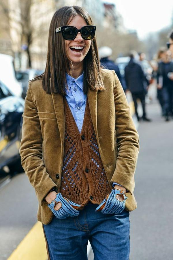 mode femme veste velours côtelé