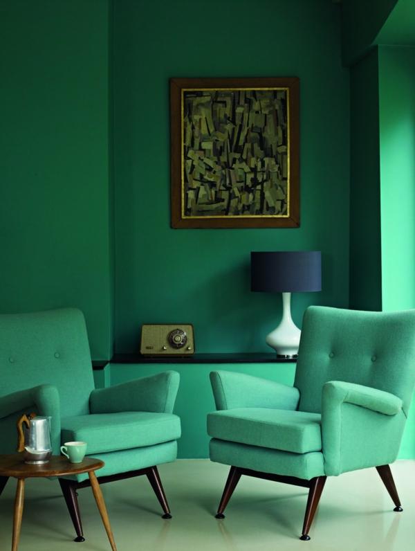 peinture vert émeraude salon fauteuils vert menthe