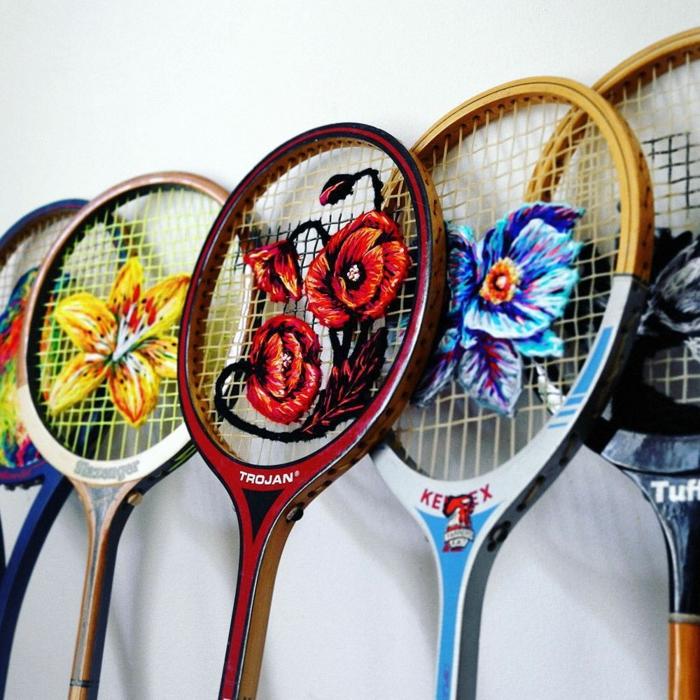 raquette de tennis broderie