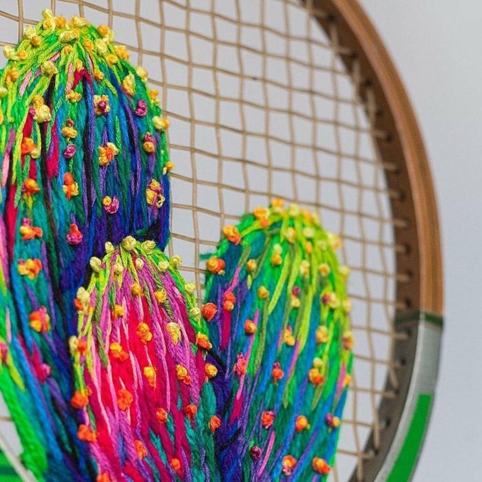 raquette de tennis tissage cactus