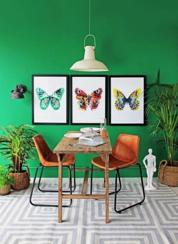 salle à manger peinture vert émeraude mobilier industriel