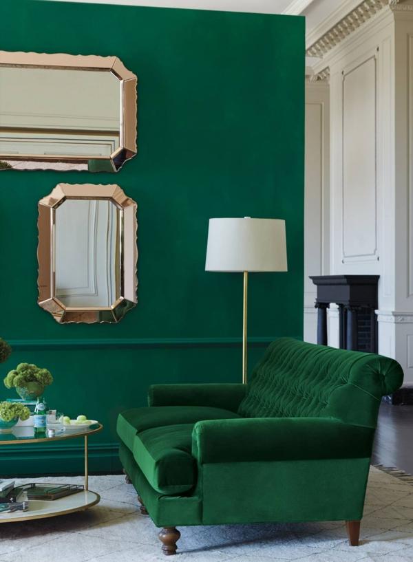 salon chic peinture vert émeraude miroirs dorés