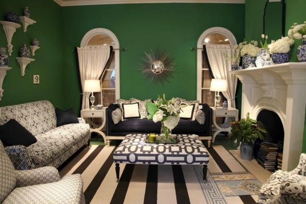salon cosy peinture vert émeraude déco blanc crème