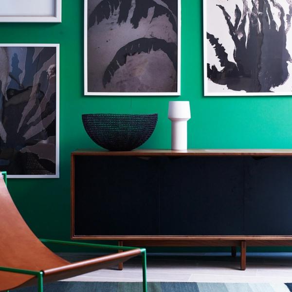 salon moderne peinture vert émeraude déco noire