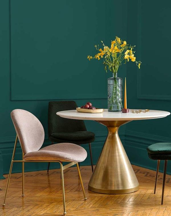 salon peinture vert émeraude chaises rembourrées