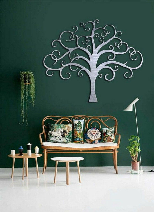 salon peinture vert émeraude déco murale