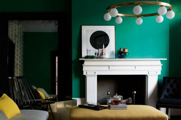salon peinture vert émeraude grande cheminée