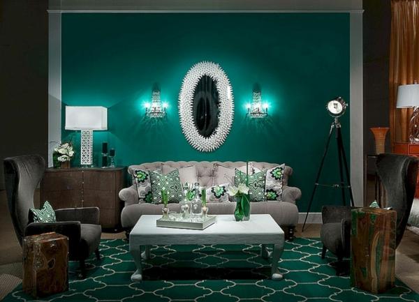 salon peinture vert émeraude mobilier gris et brun