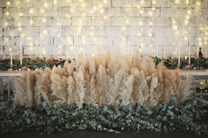 table de mariage déco herbe de la pampa