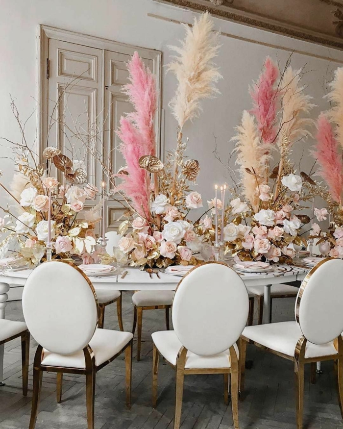 table festive pour mariage déco avec herbe de la pampa