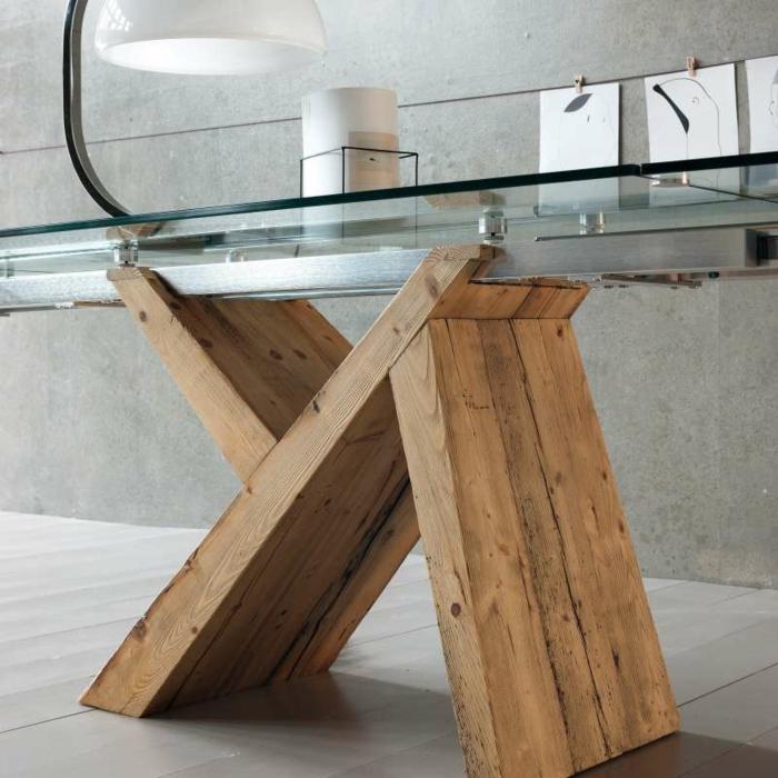 table salle à manger design en verre et bois sapin antique