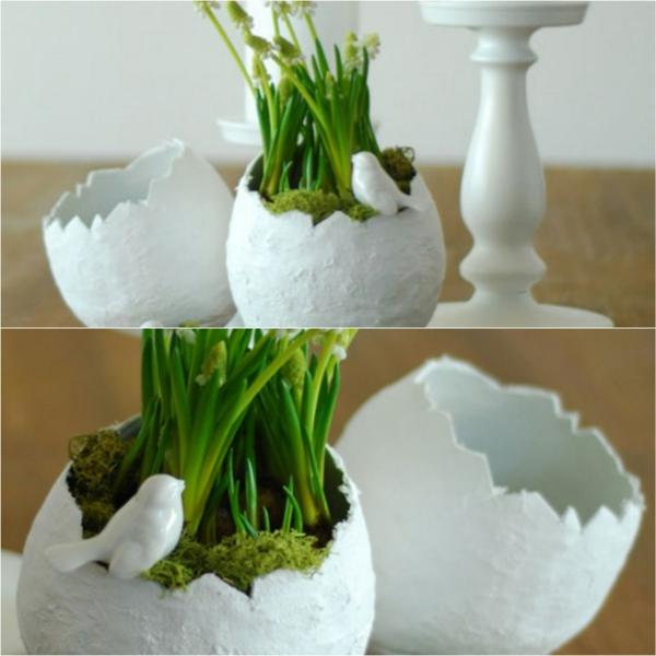 Comment faire des œufs de Pâques décoratifs en béton déco plantes mousse végétale